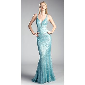 Sequins Beaded V-Back Floor Length Prom Dress Powder Blue