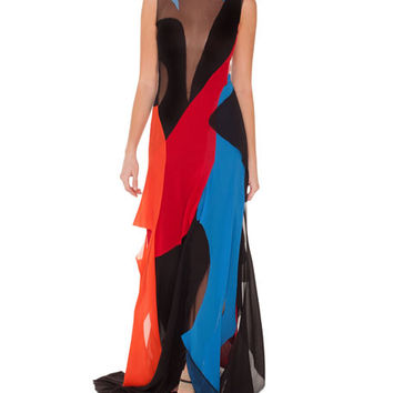 Akris Sleeveless Patchwork Georgette Gown
