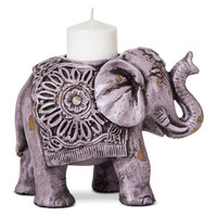 Ser of 2 Purple Bohemian Elephant Tealight Votive Candle Holders