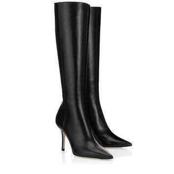 Jimmy Choo Women Fashion Leather High Boots Stiletto Shoes-1