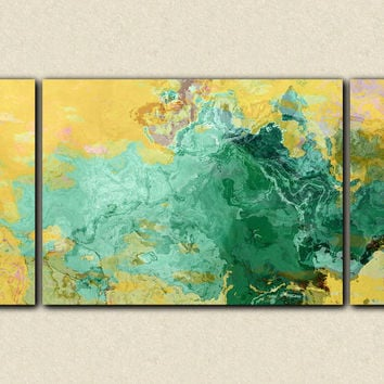 "Oversize abstract modern art triptych stretched canvas print, 30x60 to 40x78 in turquoise and yellow, ""Oasis"""