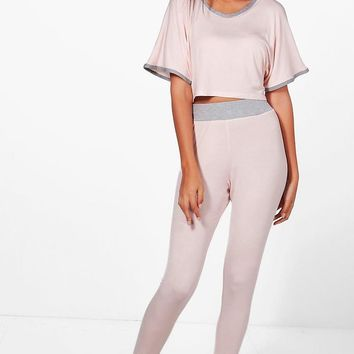 Tall Anna Crop And Contrast Legging Lounge Set | Boohoo