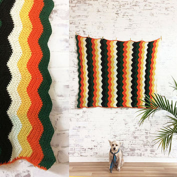 "Vintage 1970's ZIG ZAG Orange Green Yellow Black White Hand Crocheted Throw Park Blanket ||  Home Decor || 56"" x 47"""