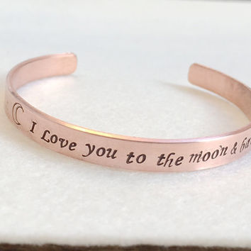 To the moon and back bracelet, I love you to the moon & back, Sun moon star bracelet, Bridesmaid Gift, Personalized bracelet,  to the moon