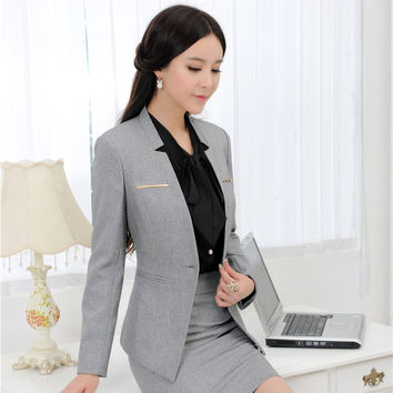 New 2015 Autumn Winter Elegant Gray Uniform Style Professional Business Women Blazer Coat Jackets Ladies Tops Blaser Feminino