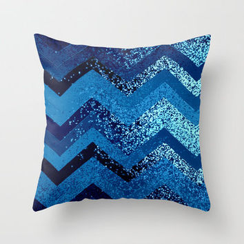 sparkly and dark blue adventure Throw Pillow by Marianna Tankelevich