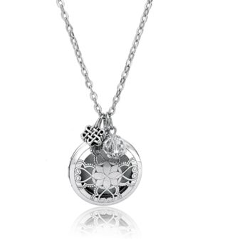 Silver Charm Aromatherapy Diffuser Necklace for Essential Oils