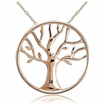 Rose Gold Tone over Sterling Silver Tree of Life Necklace