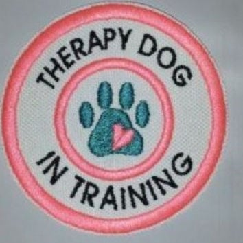 "U Pick Color Combo Sew On Embroidered Patch 3"" - Therapy Dog In Training"