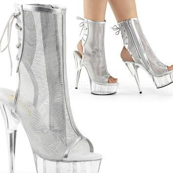 New Silver Mesh Ankle Boot 6 Inch Heel Stripper Boots