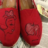 Custom Hand Painted Snow White Styled TOMS by Iheartpaintingtoms