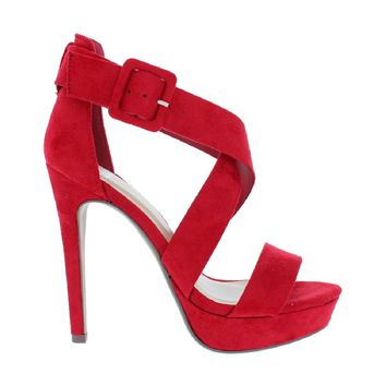 Platform Cross Strap Heel Sandal (RED)