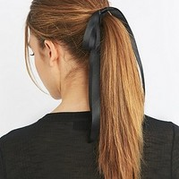 Black Satin Bow Hair Bobble - Urban Outfitters