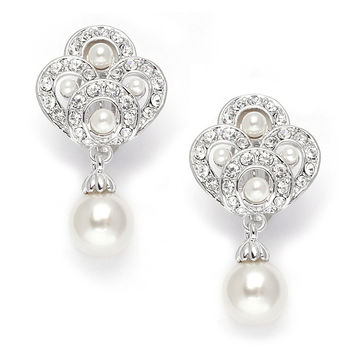 Art Deco Cubic Zirconia &  Pearl Drop Wedding Earrings $35
