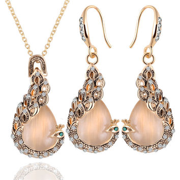 Top Quality Austrian Crystal Circle Opal Peacock Jewelry Sets Gold Peacocks Necklace Drop Earrings Set For Birthday Present