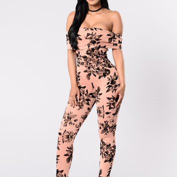 Everything Is Rosey Jumpsuit - Nude Rose/Black