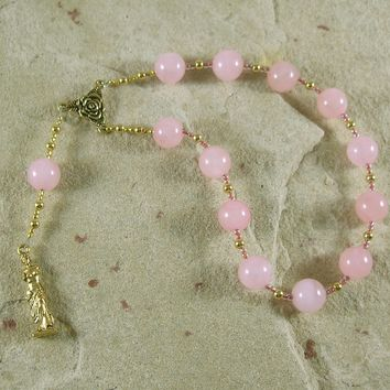 Aphrodite Pocket Prayer Beads in Rose Quartz:  Greek Goddess of Love and Beauty