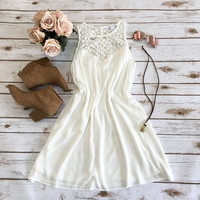 Enchanted White Lace Swing Dress