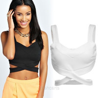 New Stylish Women's Sleeveless Slim Fitting Sexy Casual Bralet Strap Crop Tanks Tops Vest = 1904779588