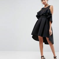 ASOS Mesh Top Cold Shoulder Dip Back Prom Dress at asos.com