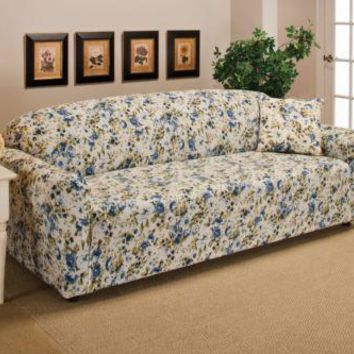 Blue Floral Jersey Chair Stretch Slipcover
