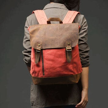 Vintage bag/ backpack/  canvas bag/leather by Elvishbagdynasty