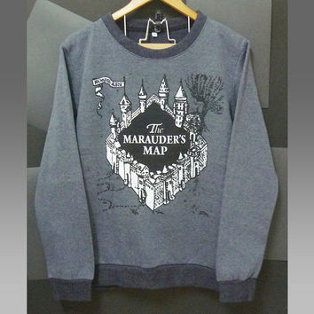 The Marauder's map shirt Harry Potter sweater castle winter jumper sweaters clothing long sleeve crew neck tee soft shirt size S M L XL XXL