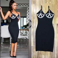Bandage black dress with pearls