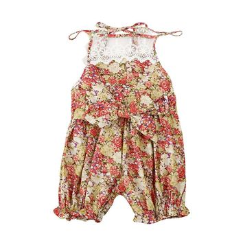 Cute Newborn Baby Girl Floral Lace Splice Romper Sleeveless Princess Toddler Kids Jumpsuit Outfit Sunsuit Clothes