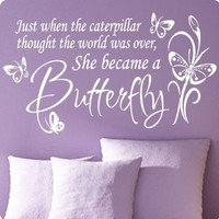 Large White Butterfly Caterpillar..Wall Decal Little Girls Room Nursery Decal Quote Vinyl Love Large Nice Sticker:Amazon:Home Improvement