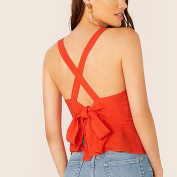 Cross Straps Peplum Hem Wrap Tank Top