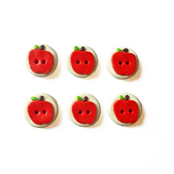 Apple Buttons - Polymer Clay Buttons - Food Buttons - Fruit Buttons - Flat Buttons - Cute Buttons - Round Buttons - Circle Buttons