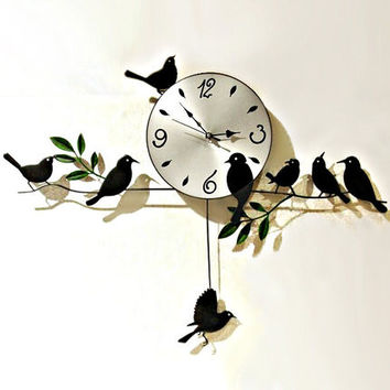 new 2014 wall clock safe home decoration decor single clocks painting watch morden design birds unique gift craft