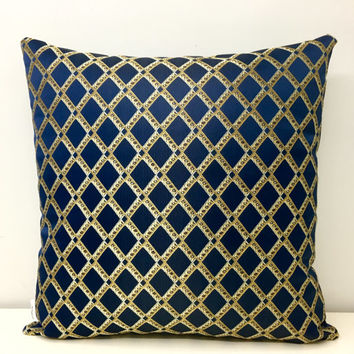 Navy Pillow Cover, Satin Jacquard Pillows, Navy Pillow, Pillows, Throw Pillows, Decorative Pillows, Navy Pillow Covers, Sofa Pillow Covers