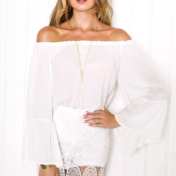 Aileen Bell Sleeve Top - White