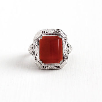 Vintage Art Deco Sterling Silver Carnelian Ring - Antique 1920s Size 5 Flower Filigree Dark Red Raised Chalcedony Gemstone Statement Jewelry