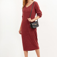 Burgundy Marled Drop Shoulder Cocoon Sweater Dress | MakeMeChic.COM