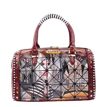 """TAXI GOES NEW YORK"" DIAMOND PRINT BOSTON BAG - NEW ARRIVALS"