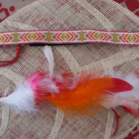 Aztec Tribal Headband with Feathers, red and orange, head band