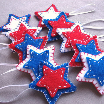 10 patriotic star ornaments, patriotic decor, felt stars, independence day, fourth of july, july 4th, americana, american decorations, USA