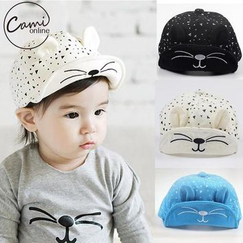 DCCKL3Z Cute Baby Cartoon Cat Hat Kids Baseball Cap Palm Newborn Infant Boy Girl Beanies Soft Cotton Caps Infant Visors Sun Hat