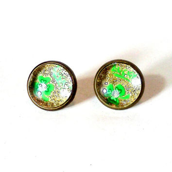 Lucky Charm, Four Leaf Clover, St Patrick's Day, Lucky, Gold Glitter, St Patricks Earrings, Lucky Clover, Good Luck Charm, Clover Earrings