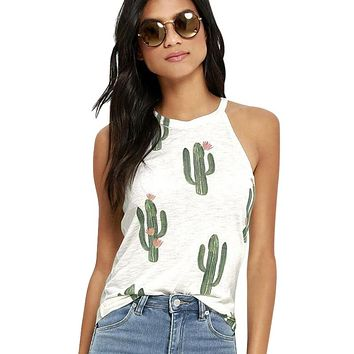 New Summer Cactus Printed Tank Tops Womens Sleeveless Fashion Woman Tops Ladies 2017  Loose Tee Tank Female Femme Tops F3