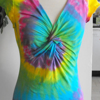 Tie Dye Pastel Rainbow Shirt with Twisted Front