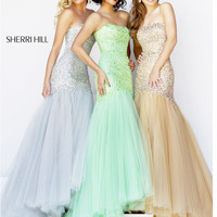 Strapless Sequin Bodice Sherri Hill Formal Prom Dress 21280