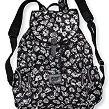 Victoria's Secret PINK Bling Black Leopard/Cheetah Large Backpack Travel Bag *RARE*