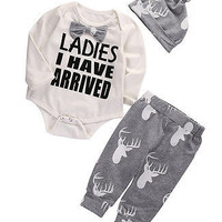 XMAS Stuff Infant Girl Boy Romper+Deer Pants Hat Gentlemen Baby Outfits Clothes Set Costume UK