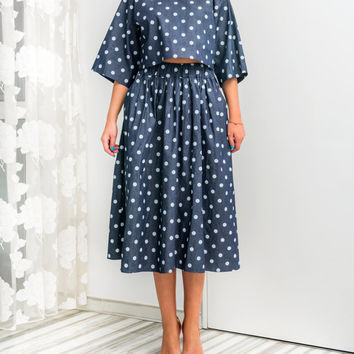 Denim Polka Dots Set, Maxi Skirt and Oversized Top, Midi Skirt , Maxi Top, Spring Summer Clothing