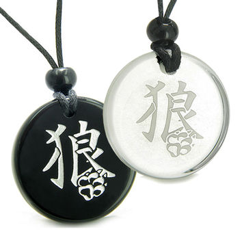 Amulets Love Couple Magic Kanji Wolf Paw Courage Powers Quartz Black Agate Pendant Necklaces