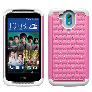 HTC Desire 526 Rhinestone Case , Slim Hybrid Dual Layer[Shock Resistant] Crystal Rhinestone Studded Case Cover - Pink/White